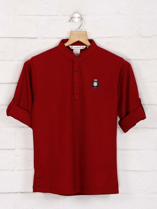 Gusto Maroon Latest Solid T-shirt