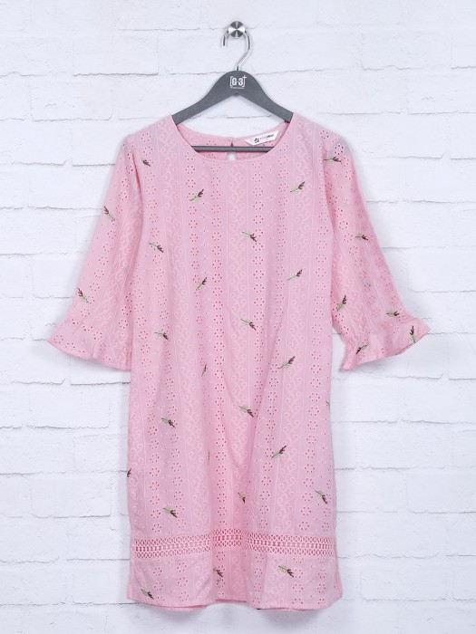 Hakoba Pattern Pink Color Cotton Top