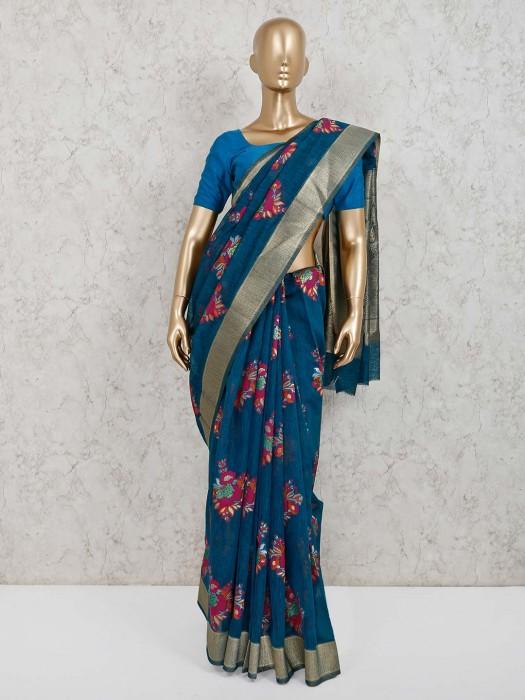Handloom Cotton Silk Blue Festive Saree