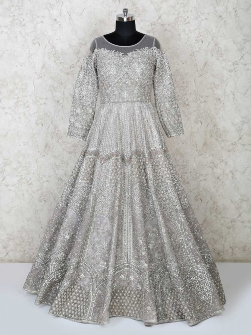 Heavily Embellished Silver Gown