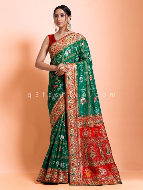 Hydrabadi Patola Silk Designer Saree With Nice Pallu