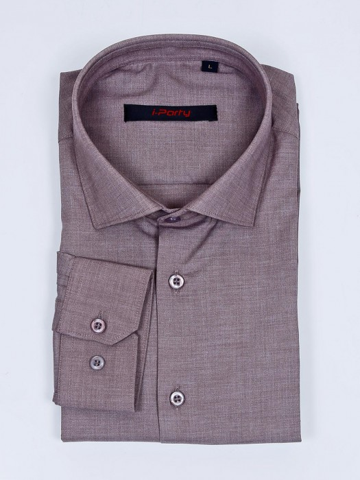 I Party Cotton Fabric Solid Light Brown Shirt