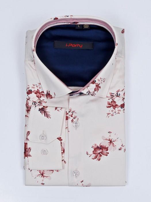 I Party Cream Printed Pattern Mens Shirt