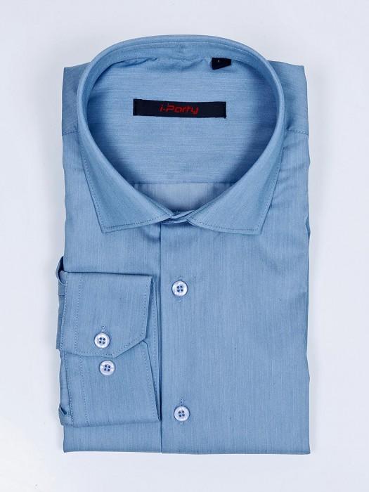 I Party Cut Away Collar Light Blue Solid Shirt
