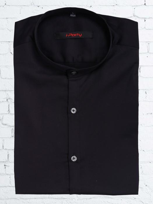 I Party Plain Black Cotton Party Wear Shirt