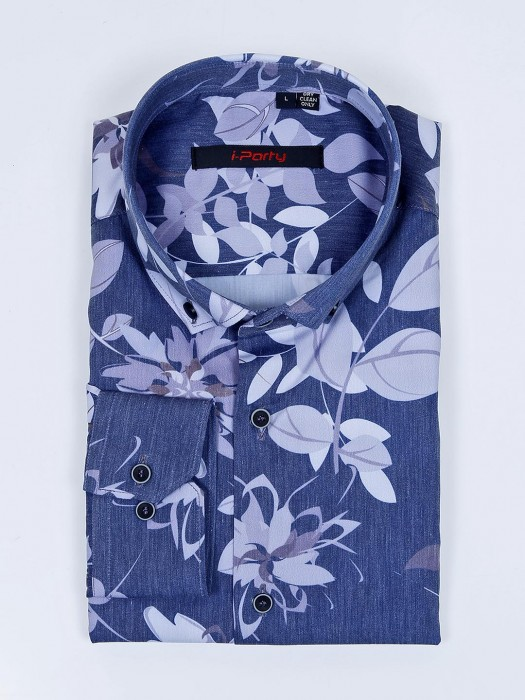 I Party Presented Blue Flower Printed Shirt