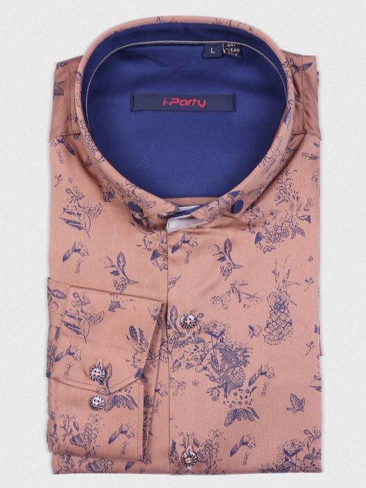 I Party Printed Pattern Peach Shirt