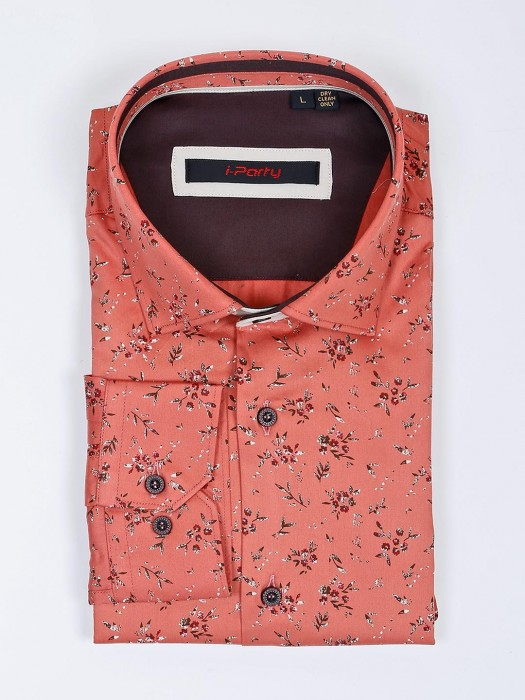 I Party Rust Orange Hue Printed Cotton Shirt