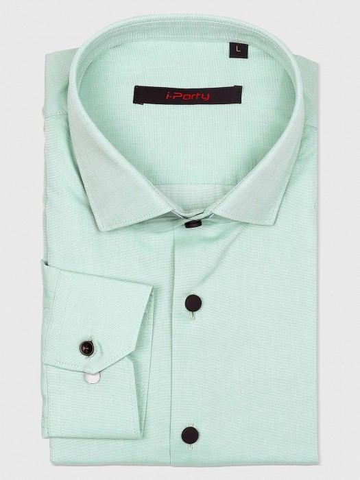 I Party Sea Green Solid Party Shirt
