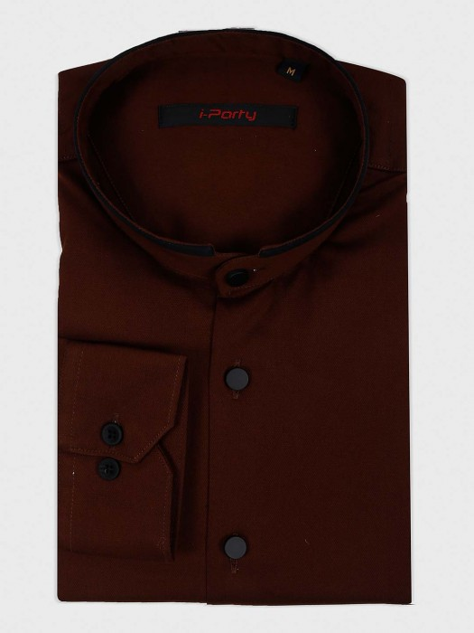 I Party Solid Brown Hued Shirt