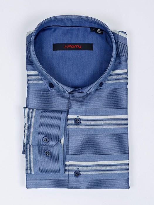 I Party Stripe Pattern Blue Cotton Shirt