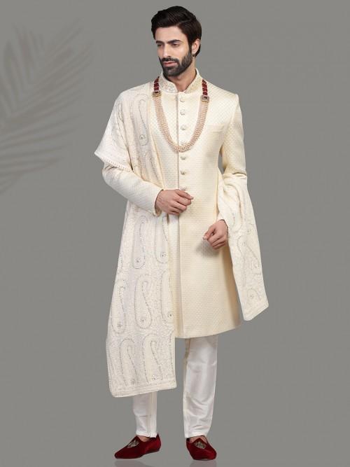 Iconic Cream Sherwani In Silk