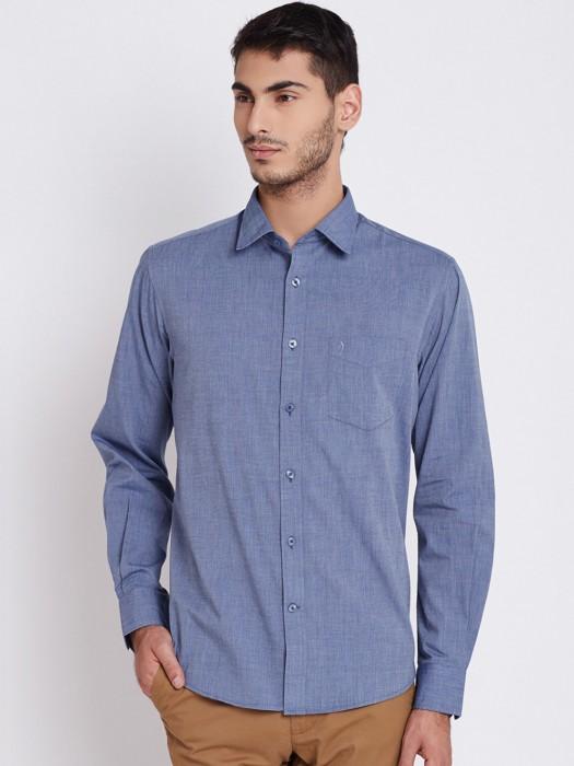 Indain Terrain Solid Blue Cotton Shirt