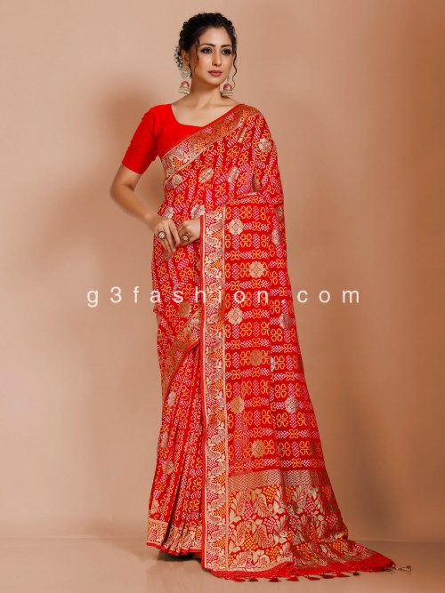 Indian Red Art Georgette Bandhej Saree