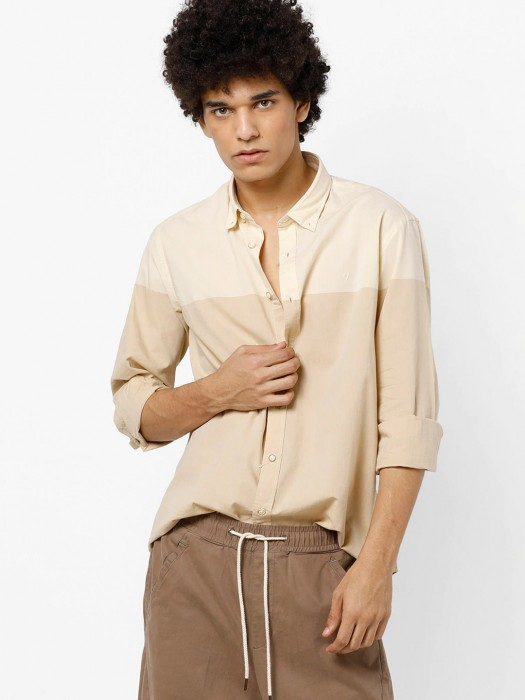 Indian Terrain Beige Hued Solid Mens Shirt