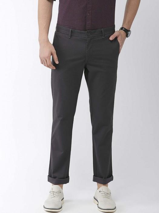 Indian Terrain Black Solid Cotton Trouser