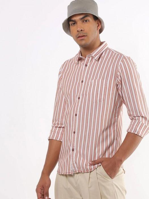 Indian Terrain Cream Stripe Shirt