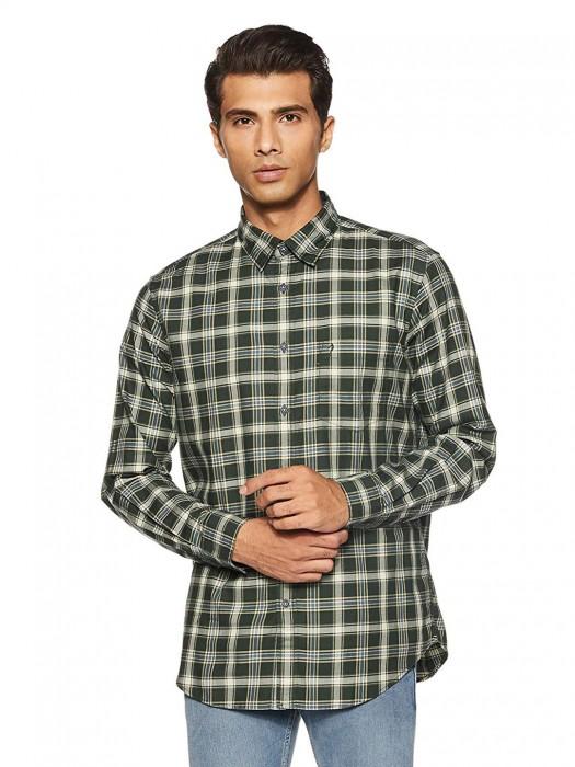 Indian Terrain Green Checks Pattern Shirt