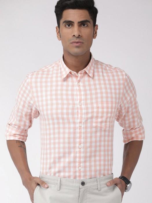 Indian Terrain Peach Checks Shirt