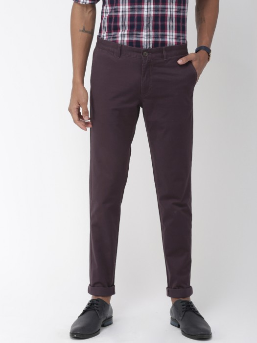 Indian Terrain Maroon Color Solid Trouser