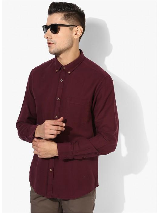 Indian Terrain Maroon Cotton Shirt