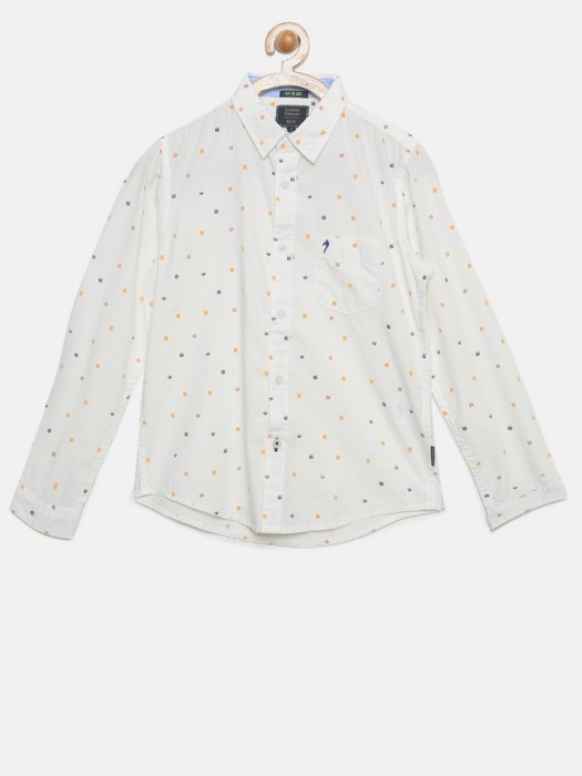 Indian Terrain Off White Cotton Shirt