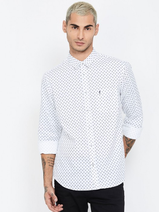 Indian Terrain Patch Pocket White Printed Shirt
