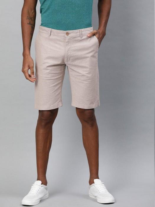 Indian Terrain Solid Beige Cotton Short