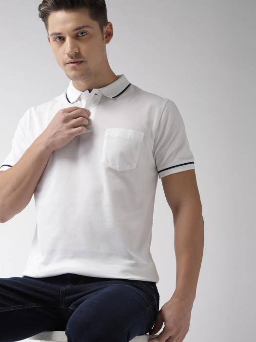 Indian Terrain White Casual Solid T-shirt