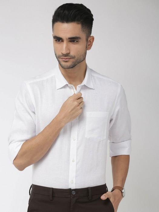 Indian Terrain White Linen Solid Shirt