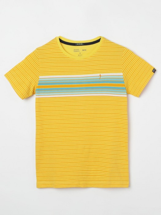 Indian Terrain Yellow Stripe T-shirt