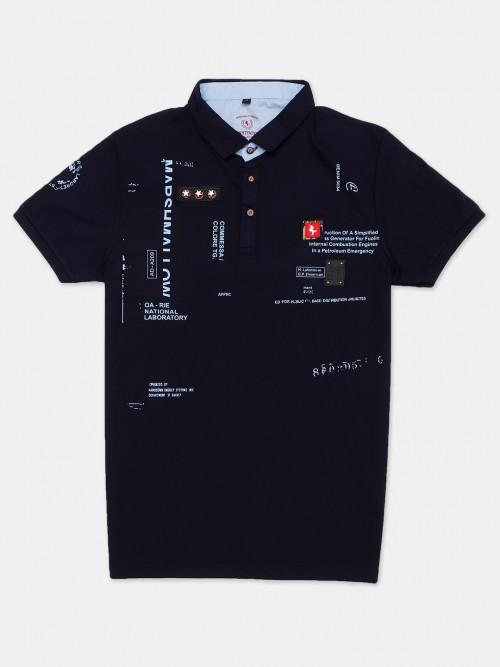 Instinto Cotton Navy Printed Polo T-shirt