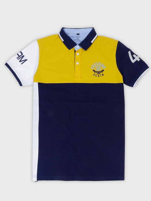 Instinto Half Sleeves Yellow And Navy T-shirt