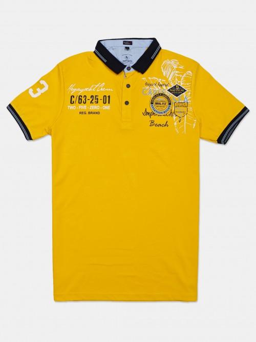 Instinto Half Sleeves Yellow Printed T-shirt