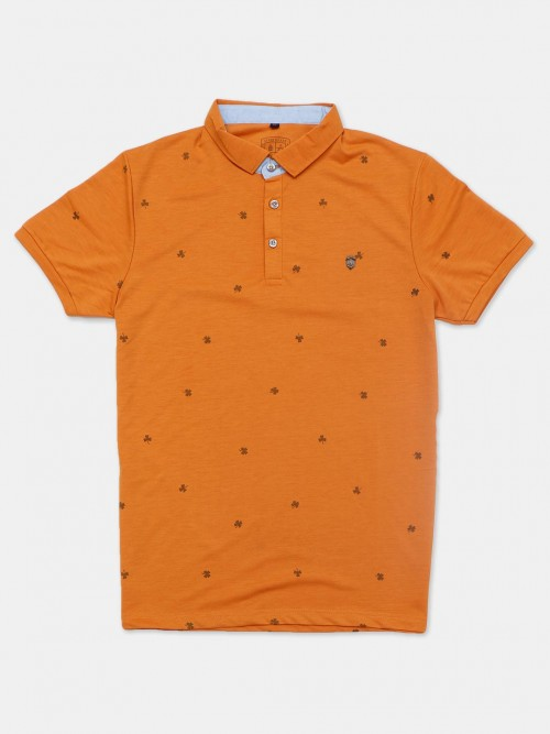 Instinto Mustard Yellow Printed Polo T-shirt