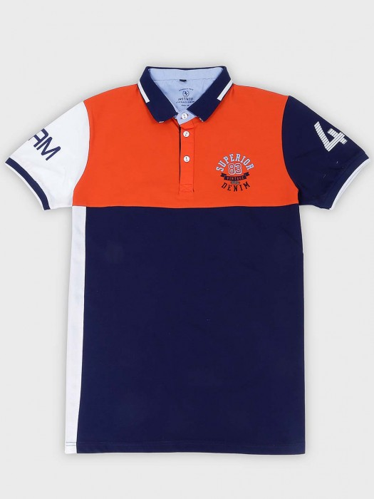 Instinto Solid Orange And Navy Color T-shirt