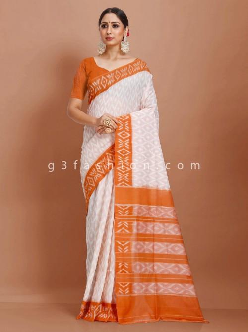 Jaquard Pattern Pure Mul Cotton White And Mustard Yellow Printed Sari