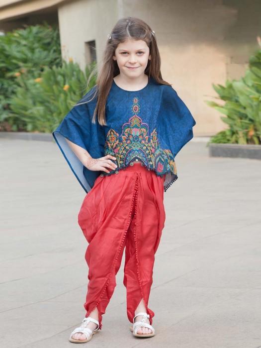 Jecquard Fabric Blue Hue Punjabi Dhoti Suit