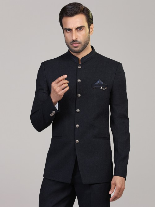 Jodhpuri Blazer In Solid Navy For Mens