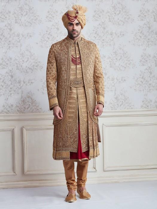 Jute Beige Wedding Wear Designer Sherwani