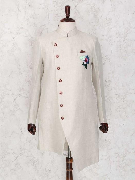 Jute Fabric Cream Wedding Wear Indo Western