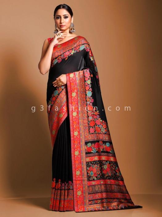 Kashmiri Pashmina Silk Party Wear Black Saree