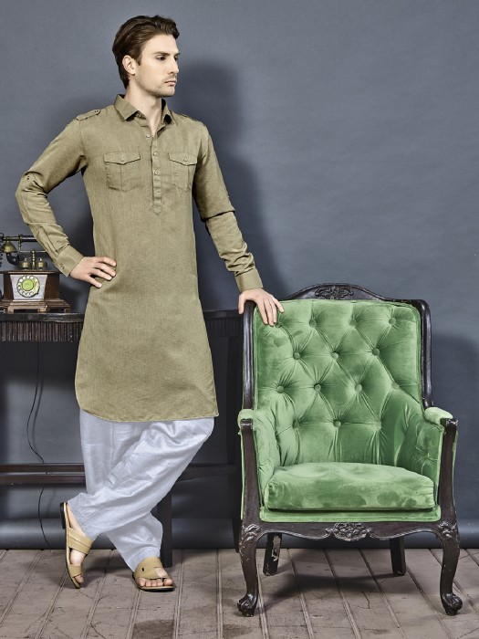 Khaki Color Pathani Suit
