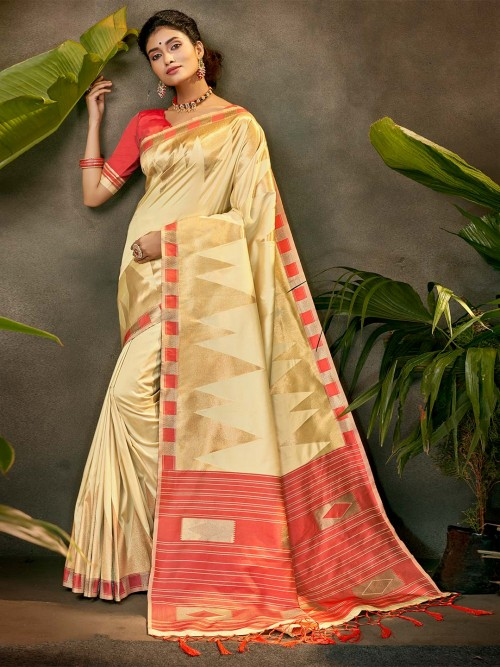 Latest Beige Silk Party Wear Saree