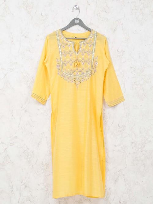 Latest Cotton Kurti In Yellow