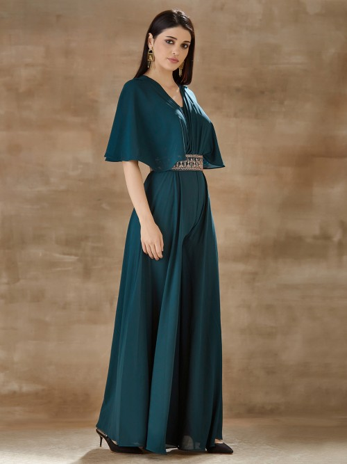 Latest Green Georgette Indo Western For Party
