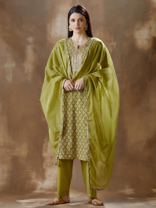 Latest Green Kurti And Pant For Festival In Cotton