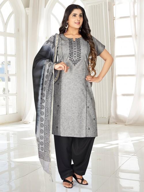 Latest Grey Color Punjabi Salwar Suit