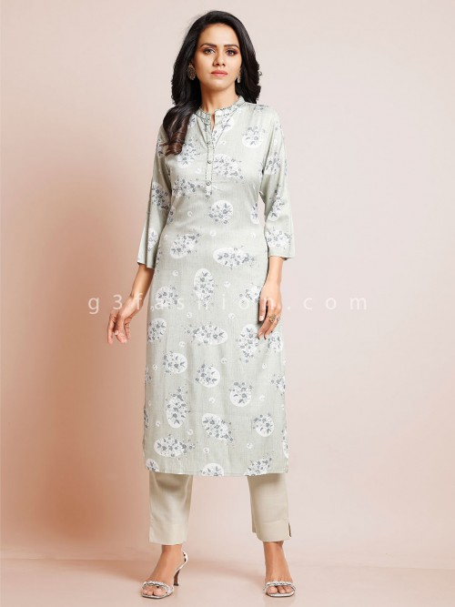 Latest Grey Cotton Kurti For Women
