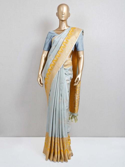 Latest Grey Saree Design In Semi Silk